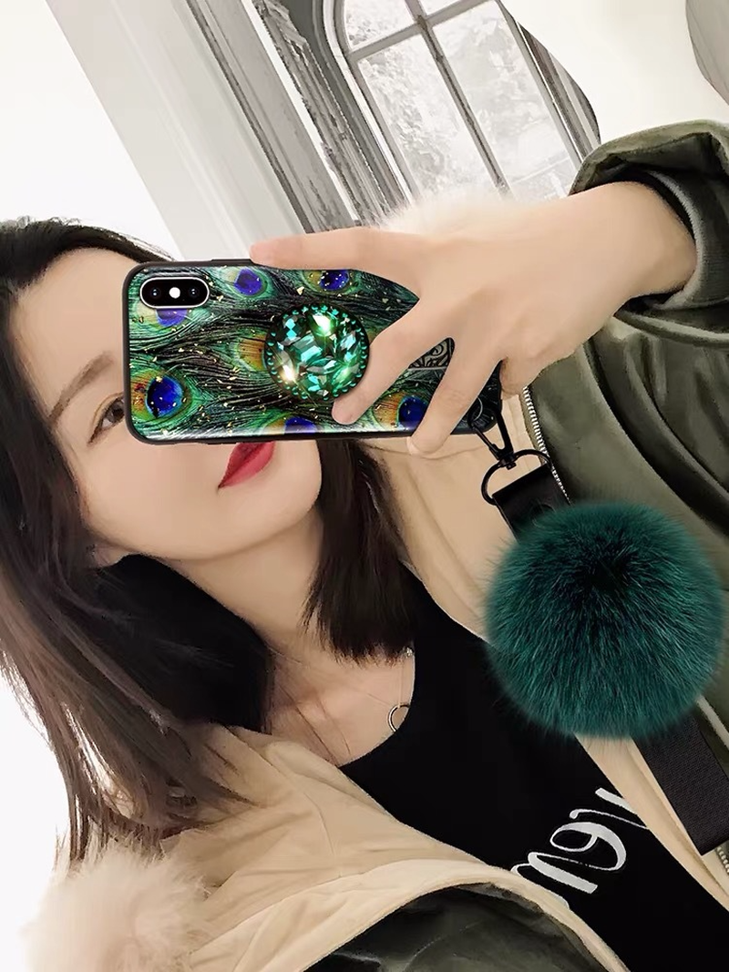 Image 2 - Hair ball rhinestone bracket For iPhone 6 6s 7 8 Plus  Cases Soft For iPhone X S MAX Back Cover Coque-in Fitted Cases from Cellphones & Telecommunications