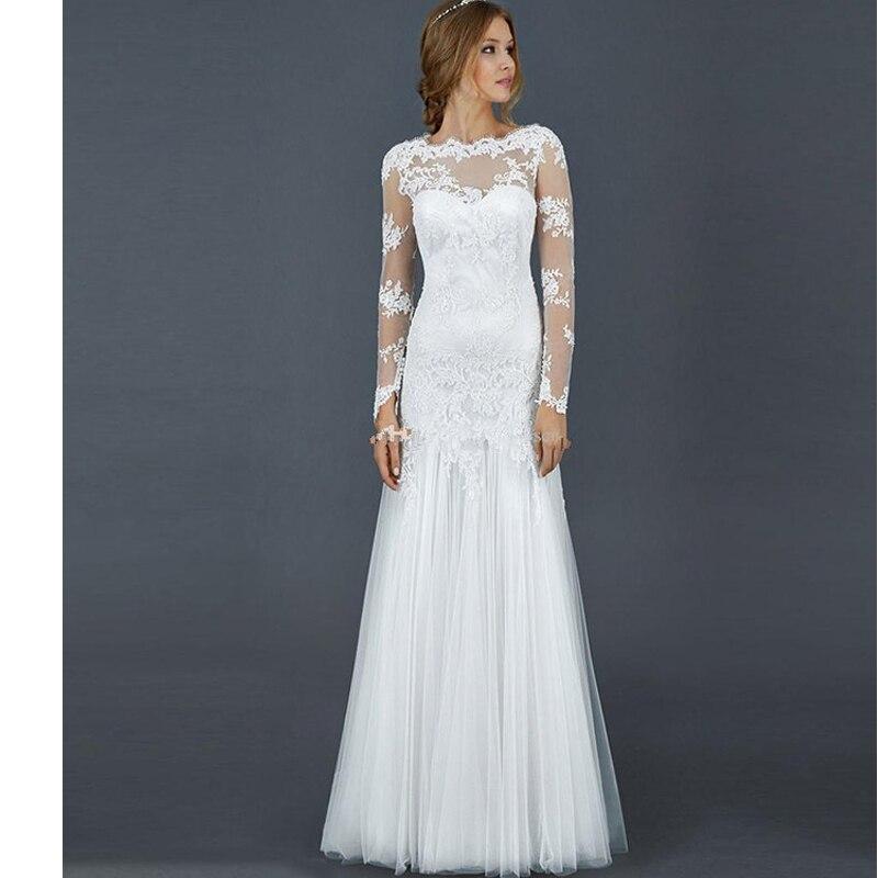 moderno vestido de boda de playa festoneado tulle apliques de encaje blanco de manga larga