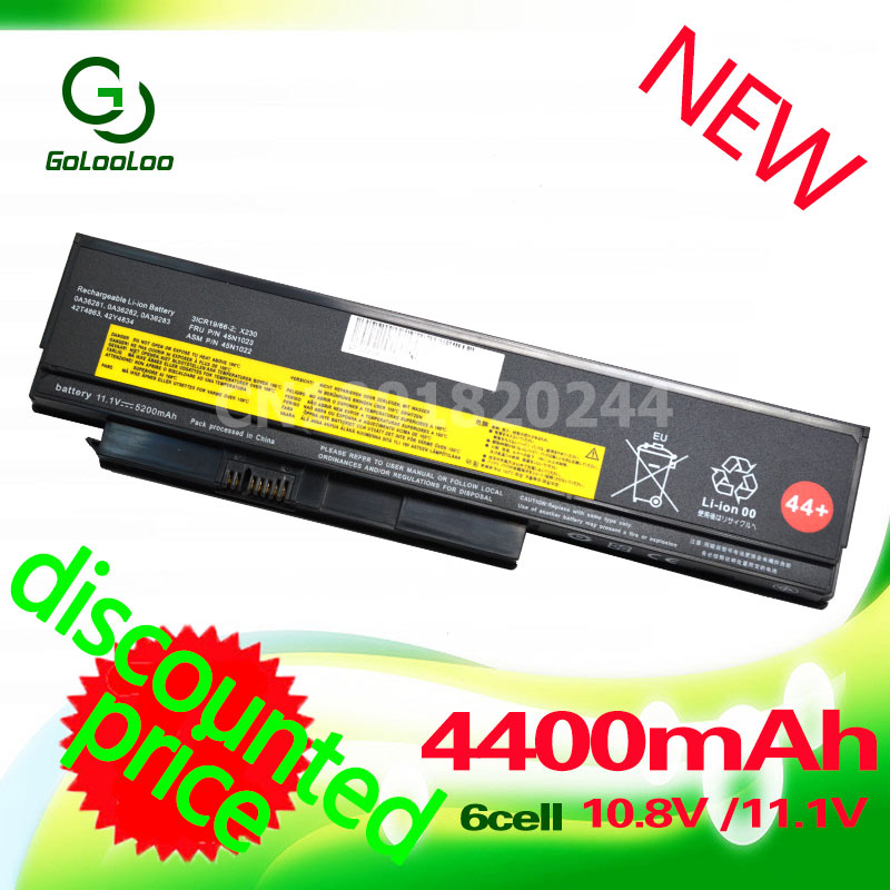 Golooloo 4400mAh battery for Lenovo ThinkPad X230 42Y4940 42T4901 42T4902 42Y4868 42T4873 42Y4874 42Y4864 42T4863 4400mah laptop battery for lenovo thinkpad x230 x230i for tablet 0a36285 0a36286 42t4877 42t4878 42t4901