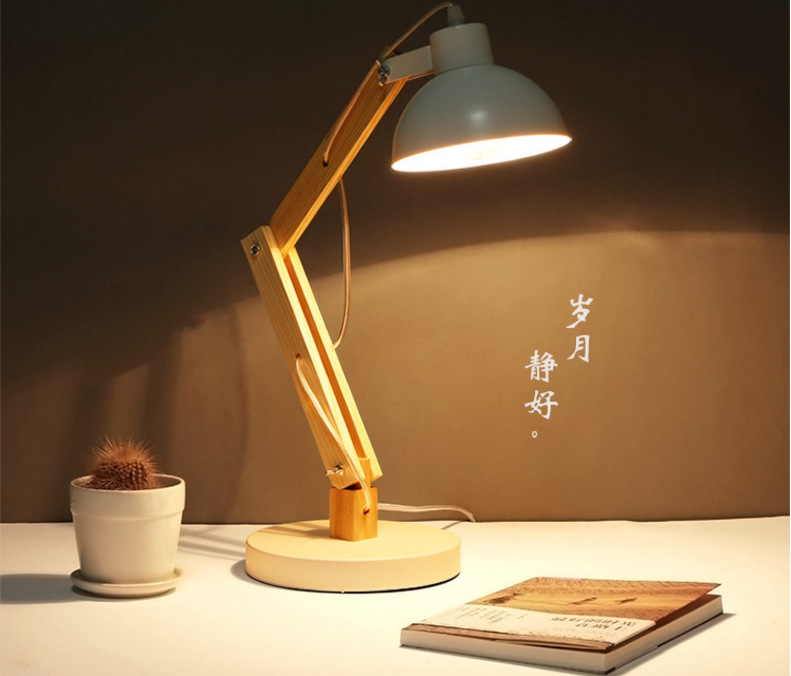 TUDA Free Shipping Contemporary Style Table Lamp Wooden Table Lampe Iron Desk Lamp LED Lamp For Bedroom Study Room E27 110V-220V free shipping employee training table the long tables desk training carrel