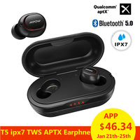 Mpow ipx7 Waterproof T5 TWS Earphones Wireless Earbuds Bluetooth 5.0 Headset Support Aptx 36h Playing Time For iPhone Xiaomi