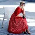 Мода женщин высокого качества красный мода долго тонкий дизайн талии формальные party beach dress полные платья D16551