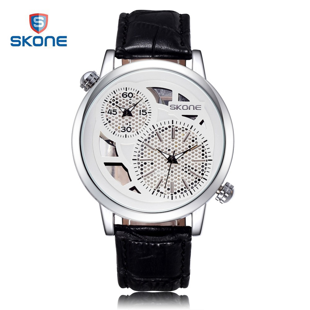 SKONE Dual Movement Display Watch Men Brand Luxury Skeleton Leather Mens Quartz Wrist Watch Watches Relogio Masculino Erkek Saat jaragar classic dual movement design automatic quartz watches clock mens watches top brand luxury watch men skeleton wrist watch