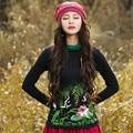 Осень Новый Свитер С Высоким Воротом Футболки Мода Лотос Рисунок Вышивки основные Тройники Женщины Большой Размер Черный Красный Повседневная Топы Плюс размер