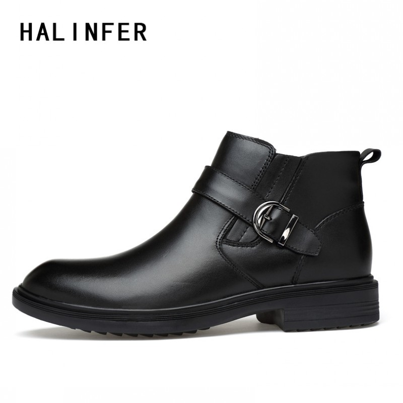 HALINFER men Work Casual boots genuine leather ankle increased non-slip shoes fashion sewing shoes men Work Boots Martin boots ...