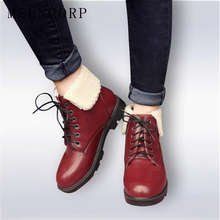 2017 New Fashion Women Boots Autumn Winter Boots Classic Lace-Up Ankle Boots Warm Snow Boots Plush Women Shoes Plus Size 34-42 цена