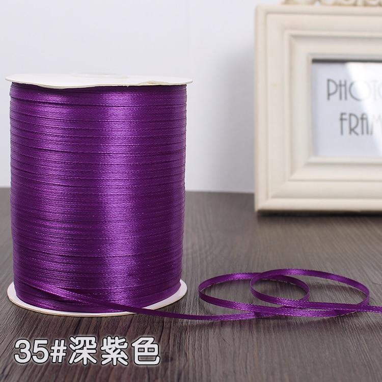 3 мм ширина бордовые атласные ленты 22 метра швейная ткань подарочная упаковка «сделай сам» ленты для свадебного украшения - Цвет: Dark Purple