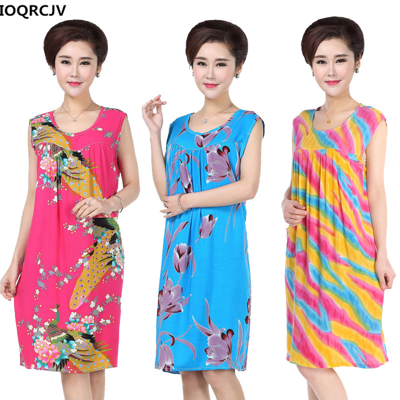 Women Nightgowns Sleep Dress Print Cotton Silk Nightdress Casual Loose Lady Sleepwear Robe Dressing Gown Female Home Dress A103
