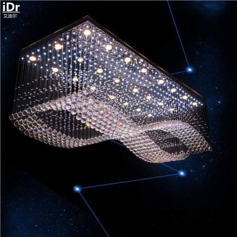 Modern Creative high grade low voltage engineering lamp crystal lamp LED Crystal Light rectangular Ceiling Lights L1200xW700mm-in Ceiling Lights from Lights & Lighting
