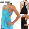ZOOB MILEY Women Yoga Activewear Tank Tops With Cross Back Strap Gym Exercise Fitness Shirts Ladies