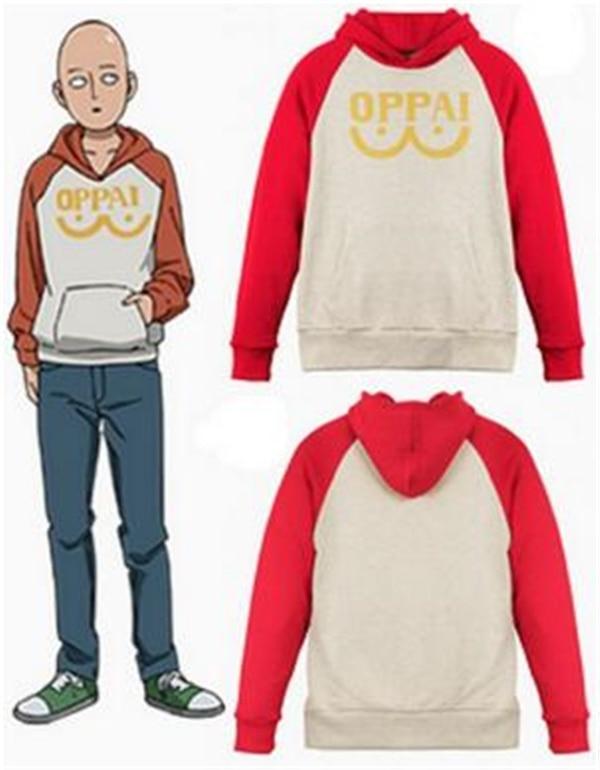 One Punch Man Hero Saitama Oppai Cosplay Costume Hooded Sweater Hoodie Jacket