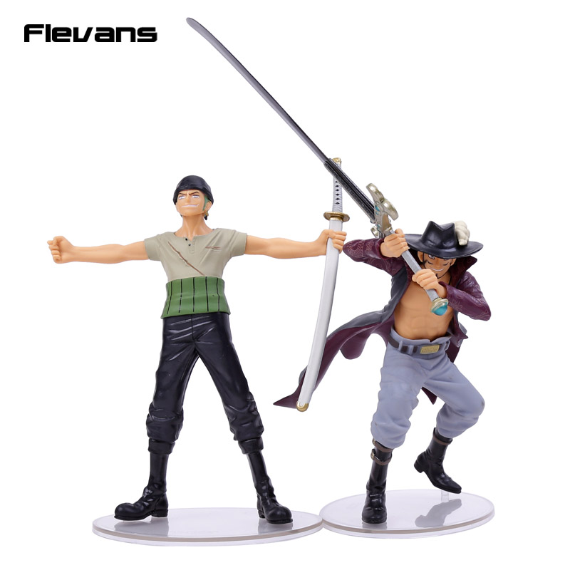 Anime One Piece Dramatic Showcase 7th senson Roronoa Zoro VS Dracule Mihawk PVC Figures Collectible Model Toys 2pcs/set Boxed anime one piece mini pvc figures toys 10pcs set luffy ace boa hankokku dracule mihawk doflamingo kuma teach jinbe moria edward