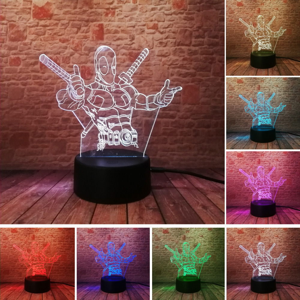 Fashion LED Toys 3D Illusion Lamp Marvel Anti-hero Deadpool Figure Night Light Color Changing Mood Novelty Lamp Holiday Gifts free shipping 1piece new arrive marvel anti hero deadpool figure light handmade 3d bulbing illusion lamp led mood light for kid