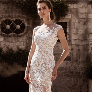Image 4 - Charming Mermaid Wedding Dresses Detachable Train Bridal Gown Scoop Cap Sleeves Lace Vestidos de Novia Robe de Mariee