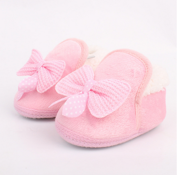 2015 Lovely Winter Warm Baby Shoes Soft Bottom Non-slip Bow Toddler shoes First walkers Freeshipping