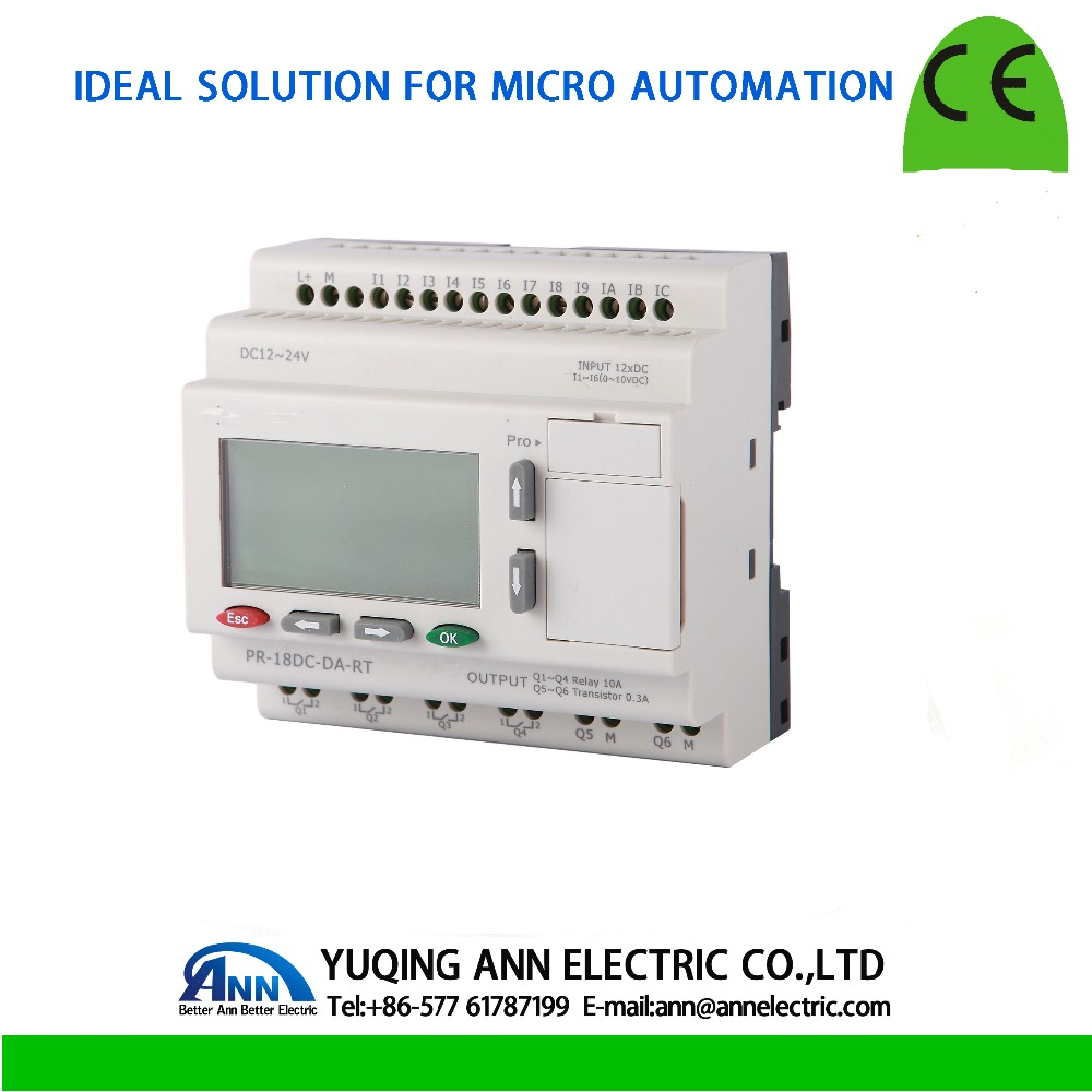 PR-18DC-DA-RT  with LCD, without cable Programmable logic controller,smart relay,Micro PLC controller , CE ROHS plc apb 22mrdl with lcd apb dusb cable programmable logic controller