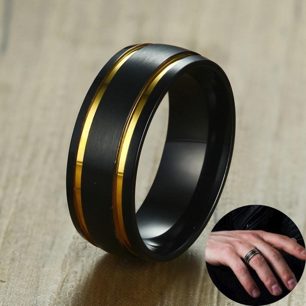 100% Wahr Männer Gebürstet Schwarz Hochzeit Band Gold-ton Doppel Rillen Ring 8mm Edelstahl Engagement Ringe Für Männliche Schmuck Komfort Fit