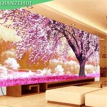 QIANZEHUI ، الإبرة ، لتقوم بها بنفسك مكان الحب الأول عبر الابره ، سلسلة الحرير شجرة الكرز عبر غرزة ، جدار ديكور المنزل