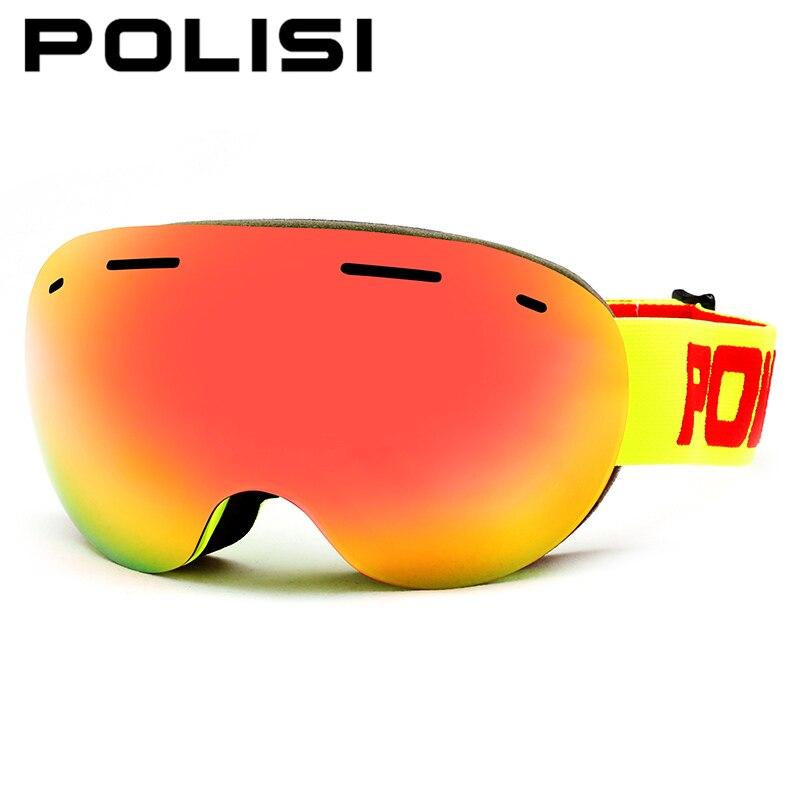 POLISI hiver Ski neige lunettes UV400 plein air Sport Snowboard lunettes de protection femmes hommes Double couche Anti-buée lentille lunettes