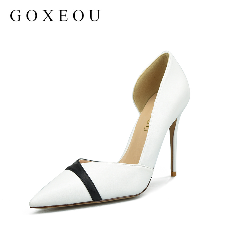 GOXEOU  women Pumps Sexy Ladies High Heels fashion Pointed Toe Party women wedding Shoes Black and white stitching8cm lady red shoes heels women pumps fashion suede high heels ladies wedding shoes platform round toe sexy footwear g752