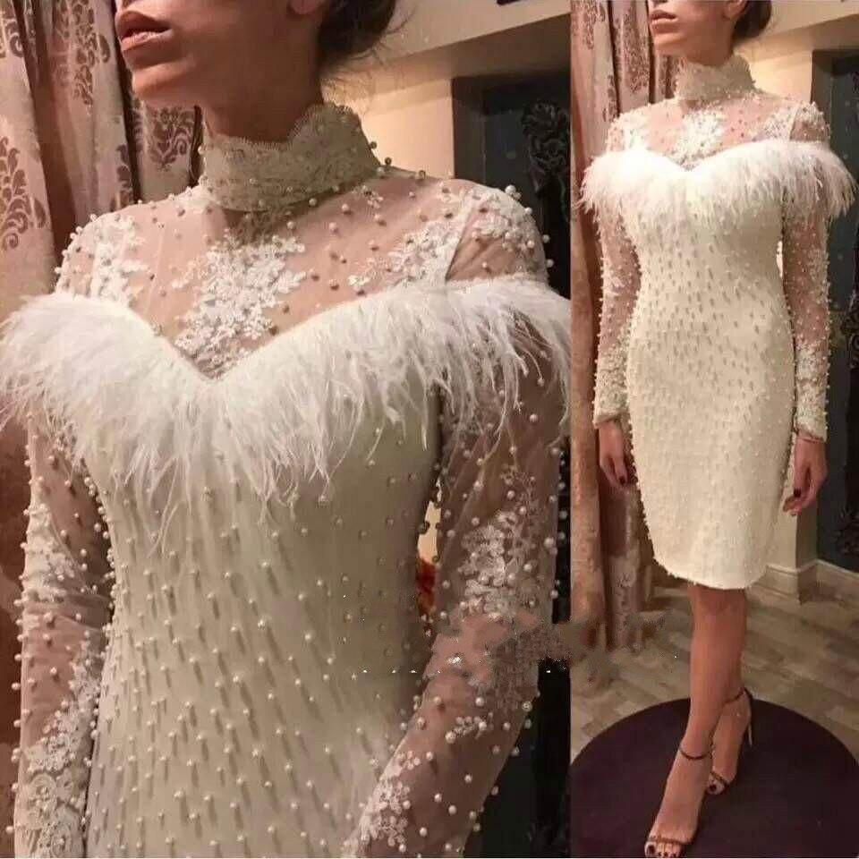 Mode élégante perles moulante robe boîte de nuit plumes Gauzy à manches longues soirée robes d'hiver femmes