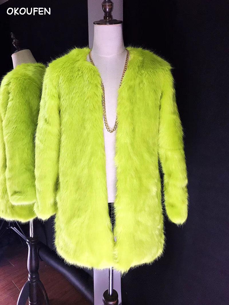 Men Fashion Fluorescent Yellow Green Fur Coat Bar Party Nightclub Male Singer DJ DS Stage Performance Jacket