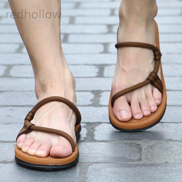 Summer Beach Shoes Men Sandals Hombre Gladiator Sandals for Male Summer Roman Sandalias Flip Flops Slip on Flats Slippers Slides