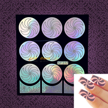 Women Henna Fan Pattern Nail Windmill Designs Nail Vinyls Finger Styling Tools Tips Guide GNF317 Glitter Hollow Nail Decals