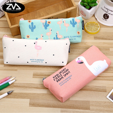 1X Kawaii Canvas Pencil Case Stationery flamingo trapezoidal pen bag lovely School Office  Bag Supply Escolar Papelaria