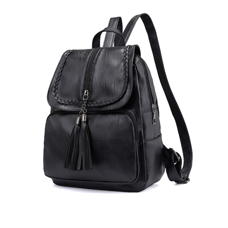 Fashion Leisure Girl Backpacks Tassel Zipper PU Leather Student Backpack Women Bag For Teenage Girls Travel Back Pack
