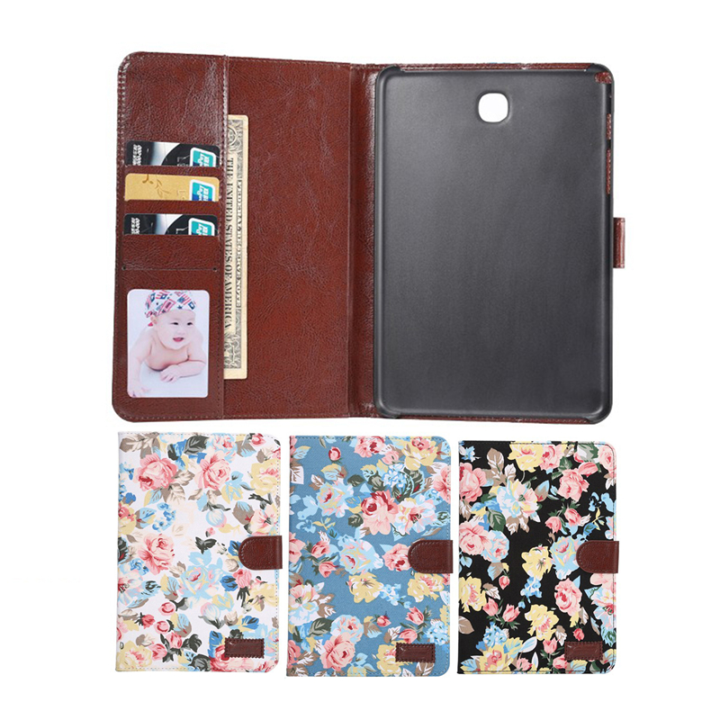 Flower Stand PU Leather Case For Samsung Galaxy Tab A 9.7 inch SM T550 T551 T555 Cover Case bf luxury painted cartoon flip pu leather stand tablet case for funda samsung galaxy tab a 9 7 t555c t550 sm t555