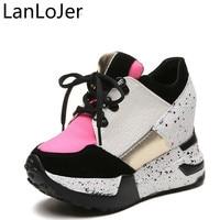 LanLoJer Woman Shoes 10cm High Heels Platform Casual Free Shipping of Wedge Casual Sneaker Shoes Fashion Casual Women Shoes