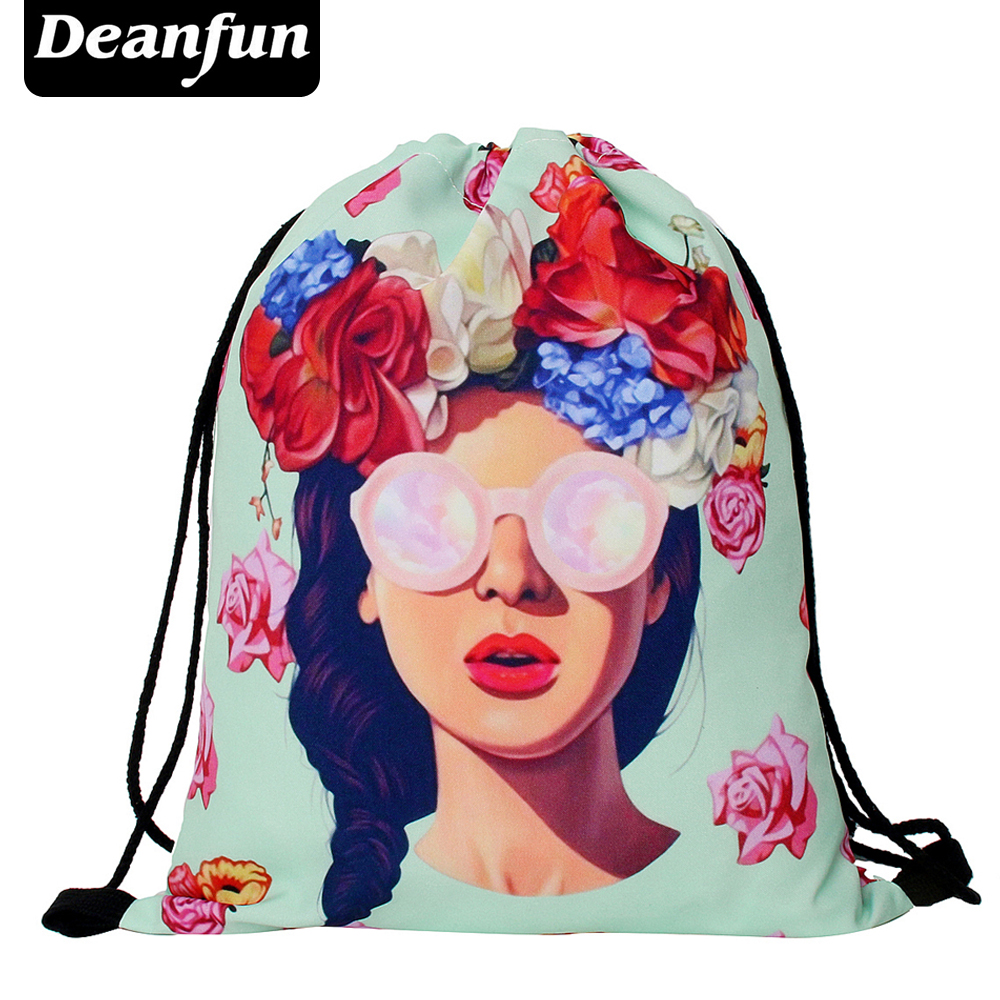 Deanfun 3D Printing Drawstring Bag Girl And Flower Schoolbags Fashion For Girls SKD82