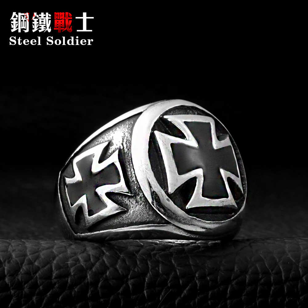 Staal soldaat hot koop Rvs Cool Fashion Iron Cross Ring Man Zwart Olieverf sieraden