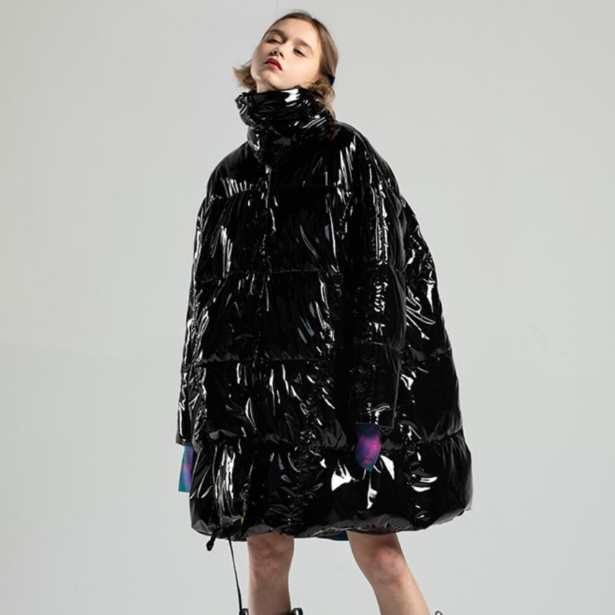 Зимние женские Модные пуховик черный глянцевый Лакированная кожа