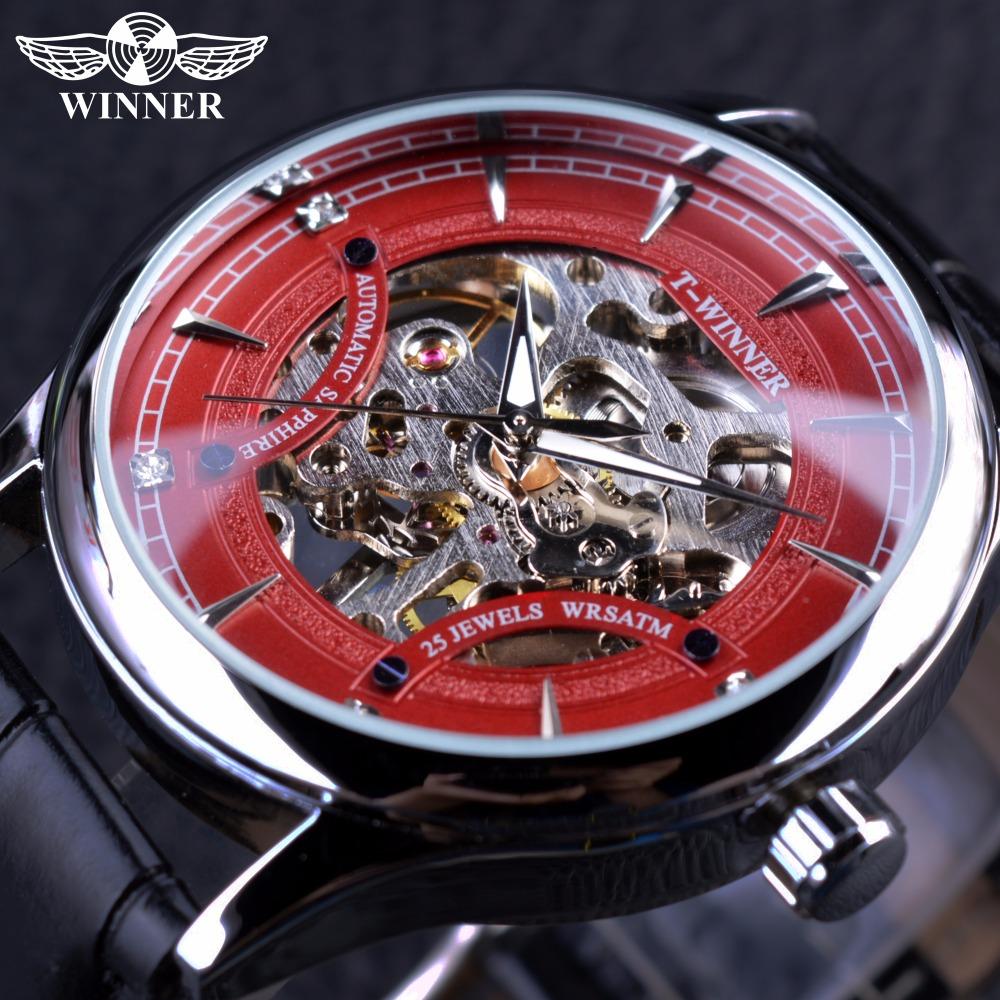 Prix pour Gagnant Rouge Mode Élégant Squelette Diamant De Luxe Design Hommes Montres Top Marque De Luxe Homme Montre-bracelet Mécanique Montre Horloge