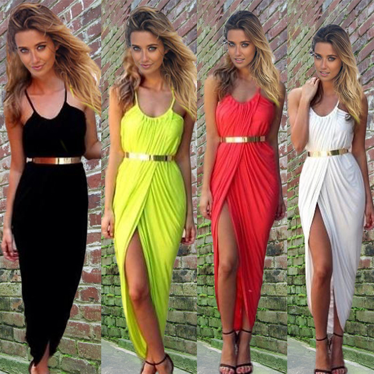 Online Shop S-3XL New Summer Women Sexy Slit Beach Dress Ladies ...