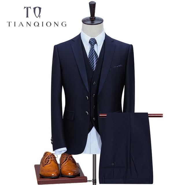 a9031b8baa TIAN QIONG 2018 New Arrival High Quality Wool Blue Men's Wedding  Dress,Casual Suit Men Business Suits 3 Pec(Jackets+Pants+Vest)