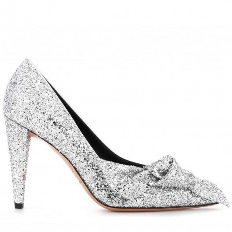Women s Thin High Heels Pumps Silver Glitter Shoes Cone Bow Slip On FSJ  Pointed Toe Shine Party Autumn 2018 FSJ Women Shoes US 9-in Women s Pumps  from Shoes ... debb628ecab3