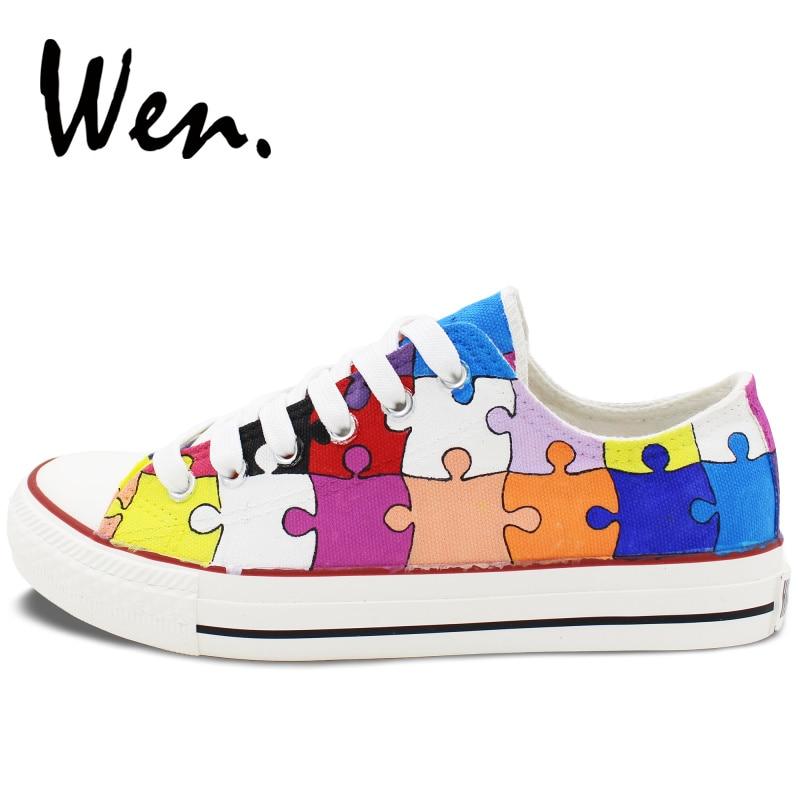 Вэнь ручная роспись повседневная обувь по индивидуальному дизайну красочные головоломки низкий верх парусиновая обувь мужские кроссовки на шнуровке женские платформы плимсоллы - 3