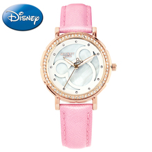 Mickey Mouse Girl Love Minnie Pattern Luxury Rhinestone Beautiful Stone Pretty Student Fashion Casual Quartz Watch Disney 11002