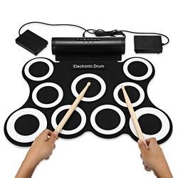 Электронный складной барабан комплект Портативный 9 Pad ручной рулон цифровой барабан комплект со встроенным метроном барабана набор обучаю...