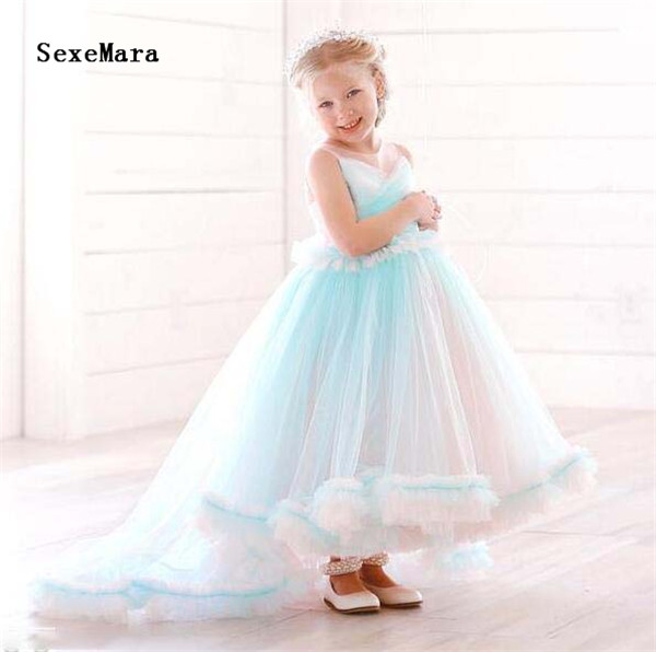 new cloud colorful ruffles soft tulle princess birthday party dress girl pageant gown for celebration with train size 2-16ynew cloud colorful ruffles soft tulle princess birthday party dress girl pageant gown for celebration with train size 2-16y