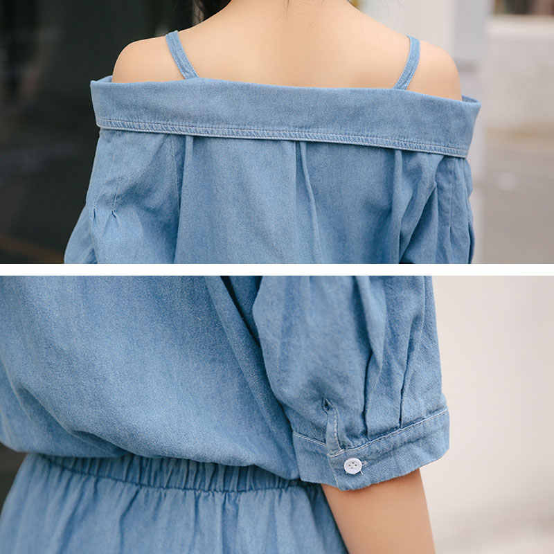 קיץ שמלת נשים בגדי Vestidos טל כתף קלע ג 'ינס שמלות קצר שרוול אמצע ארוך ג' ינס בציר קיצית שמלת TY248