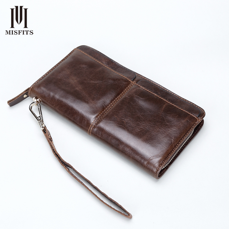 ФОТО NEW Vintage Men Genuine Leather Wallets Cowhide Multi Clutch Purse Retro Long Fashion Wallet Male Money Clips High Quality M010