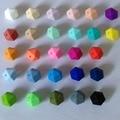 50 unids/lote Suelta Perlas Hexagonales de Silicona de Calidad Alimentaria Libre de BPA Silicona Dentición Cuentas De Collar de Dentición Del Bebé Beads Mommy DIY