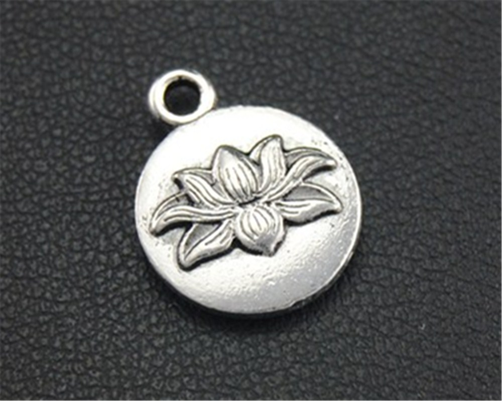 20 Stücke Antike Splitter Lotus Blume Runde Charm Anhänger Diy Halskette Armband Armreif Erkenntnisse 14x10mm A1691