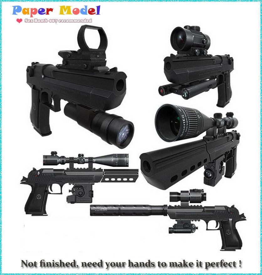 pouštní orel ze dřeva - 2020 new Scaled Desert Eagle Pistol 3D Paper Models Toys for Kids Adult assembling Gun Weapon Paper Models + 12  equipments