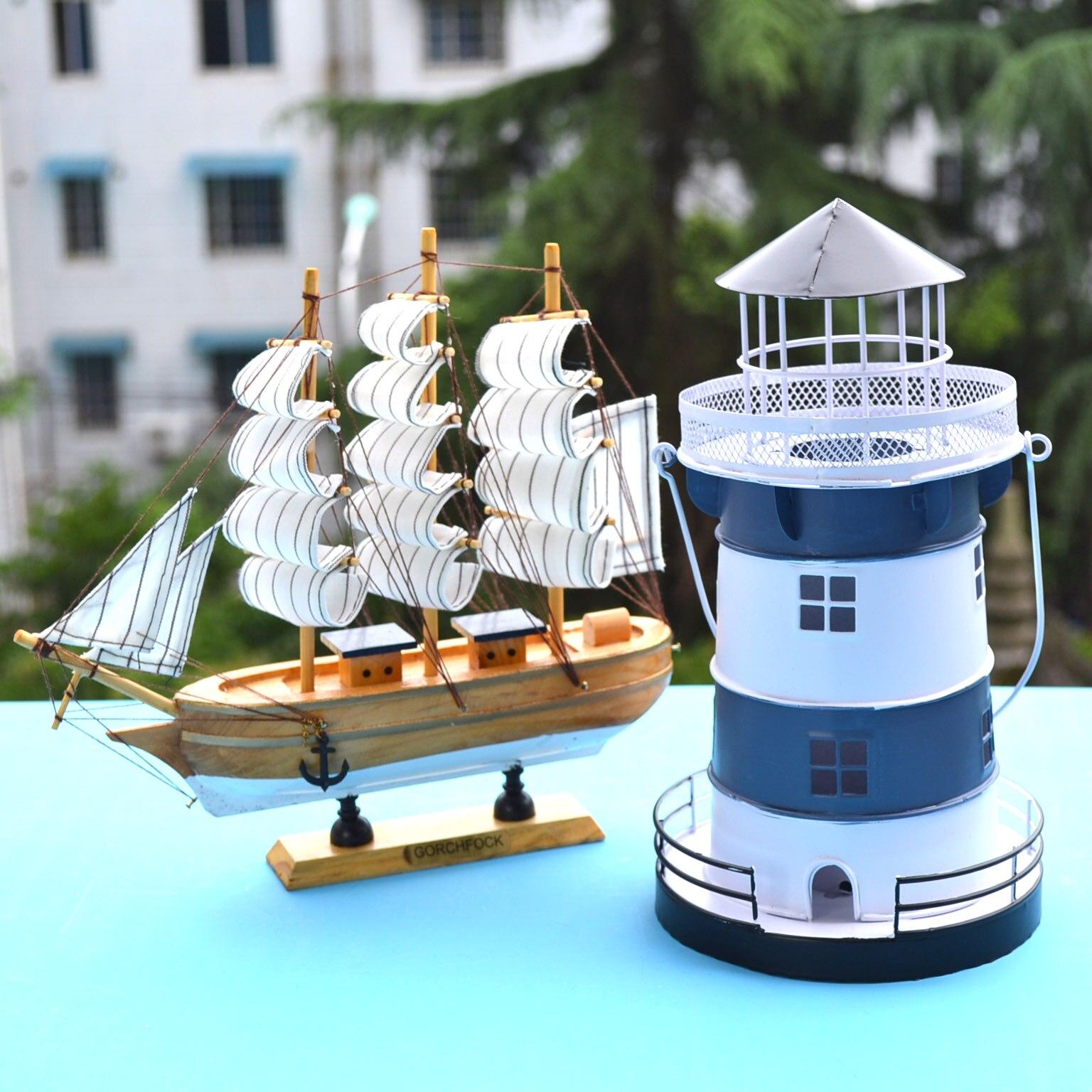 European Mediterranean Creative Lighthouse Candlestick Home Decor Coffee Shop Decorative Wrought Iron Marine Ornaments Iron