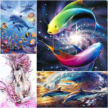 Animals Dolphin 5D,  horse  and fish picture Diamond mosaic